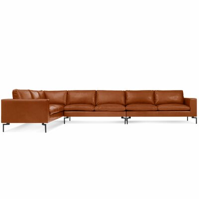 The New Standard Sectional Collection Body Fabric: Toffee Leather, Leg Color: Black