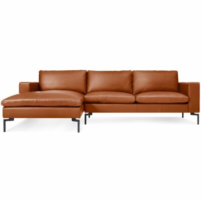 The New Standard Sectional Collection Body Fabric: Black Leather, Leg Color: Black