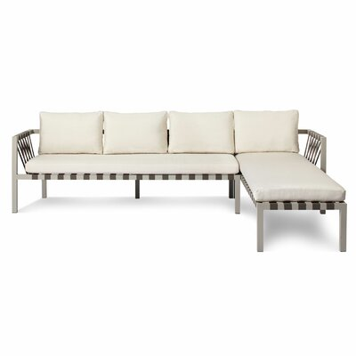 Jibe Outdoor Right Sectional with Cushions Cushion Color: Sunbrella Canvas, Frame Finish: Grey