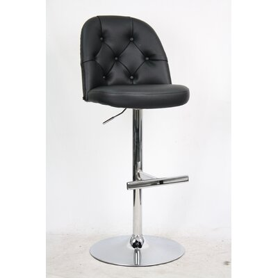 Archer Adjustable Height Bar Stool with Cushion Upholstery: Charcoal Black