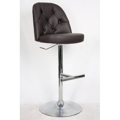 Archer Adjustable Height Bar Stool with Cushion Upholstery: Brown