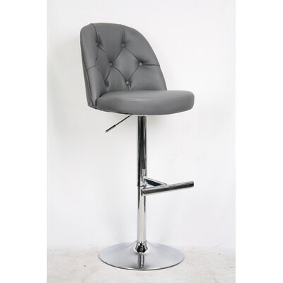Archer Adjustable Height Bar Stool with Cushion Upholstery: Gray