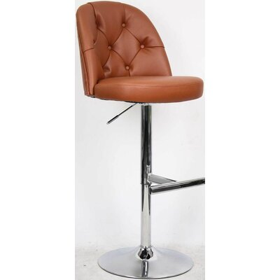 Archer Adjustable Height Bar Stool with Cushion Upholstery: Saddle