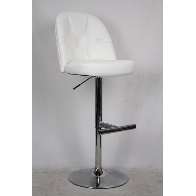 Archer Adjustable Height Bar Stool with Cushion Upholstery: White