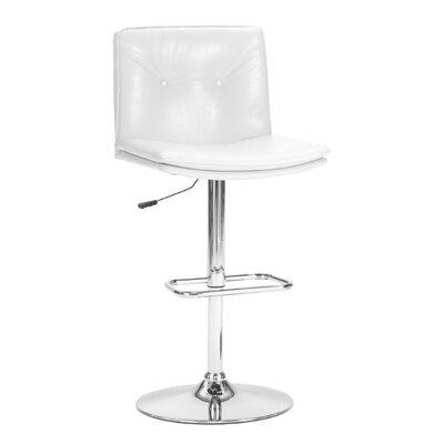 Triple Seven Adjustable Height Bar Stool with Cushion Upholstery: White
