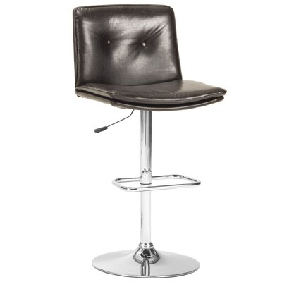 Triple Seven Adjustable Height Bar Stool with Cushion Upholstery: Black