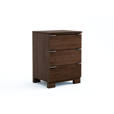 Grandview 3 Drawer Nightstand in , 28.37 H x 18 W x 17.5 D Color: Espresso