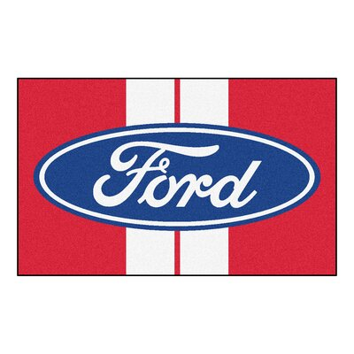 Ford - Ford Oval with Stripes Tailgater Mat Rug Size: Rectangle 4 x 6