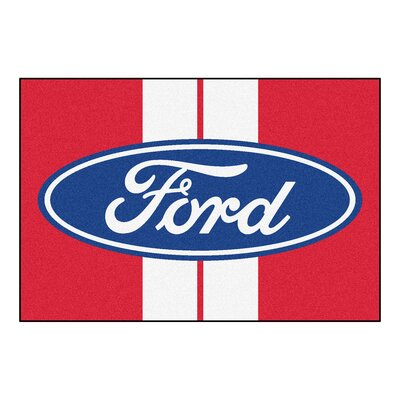 Ford - Ford Oval with Stripes Tailgater Mat Rug Size: Rectangle 5 x 8
