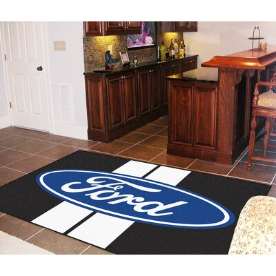 Fanmats Ford Oval Black Stripe Area Rug - Rug Size: 5' x 8'