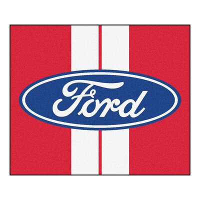 Ford - Ford Oval with Stripes Tailgater Mat Rug Size: Rectangle 5 x 6