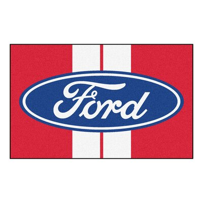 Ford - Ford Oval with Stripes Doormat Color: Red