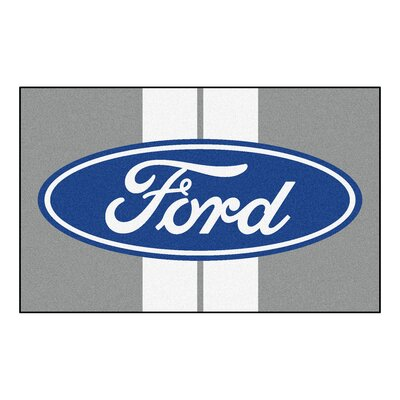 Ford - Ford Oval with Stripes Doormat Color: Gray