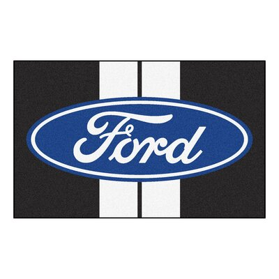 Ford - Ford Oval with Stripes Doormat Color: Black