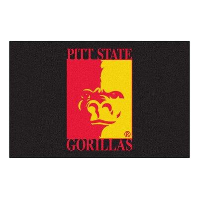 Collegiate Pittsburg State University Starter Hand-Woven Black Area Rug