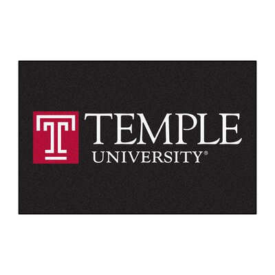 Collegiate Temple University Starter Hand-Woven Black Area Rug