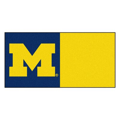 Collegiate 18 x 18 Carpet Tiles in Multi-Colored NCAA Team: Michigan