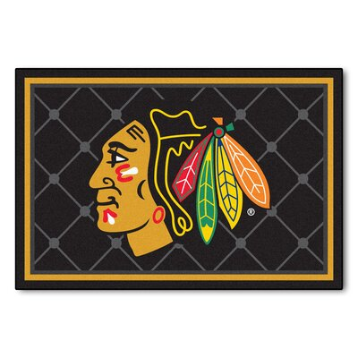 NHL - Chicago Blackhawks 5x8 Rug Mat Size: 5 x 78