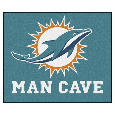 NFL - Miami Dolphins Man Cave Indoor/Outdoor Area Rug Rug Size: 5 x 6