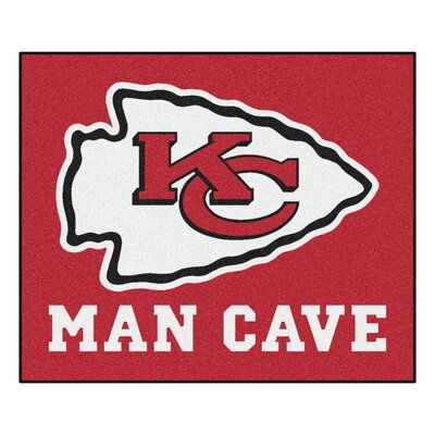 NFL - Kansas City Chiefs Man Cave Indoor/Outdoor Area Rug Rug Size: 5 x 6