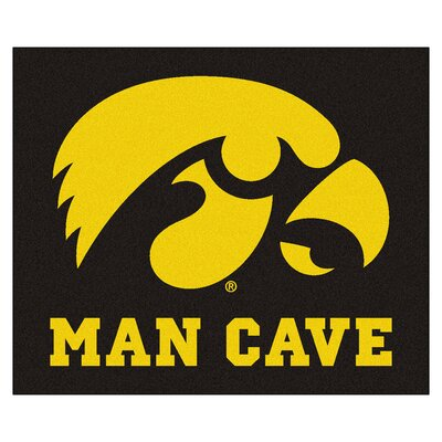 NCAA University of Iowa Man Cave Indoor/Outdoor Area Rug