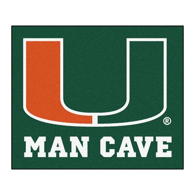 NCAA University of Miami Man Cave Indoor/Outdoor Area Rug