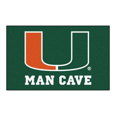 Collegiate NCAA University of Miami Man Cave Doormat