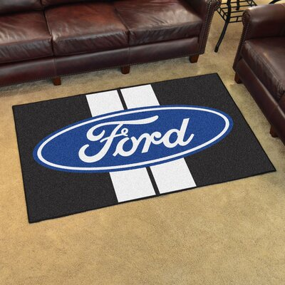 Ford - Ford Oval with Stripes Tailgater Mat Rug Size: 4 x 6