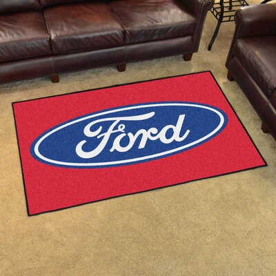 Ford - Ford Oval Tailgater Mat Rug Size: 4 x 6