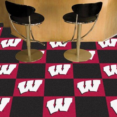 Collegiate 18 x 18 Carpet Tiles in Multi-Colored NCAA Team: Wisconsin