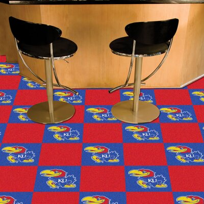 Collegiate 18 x 18 Carpet Tiles in Multi-Colored NCAA Team: Kansas