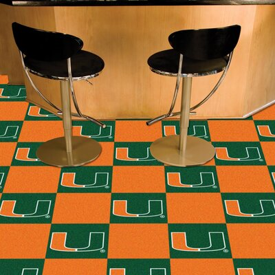 Collegiate 18 x 18 Carpet Tiles in Multi-Colored NCAA Team: Miami