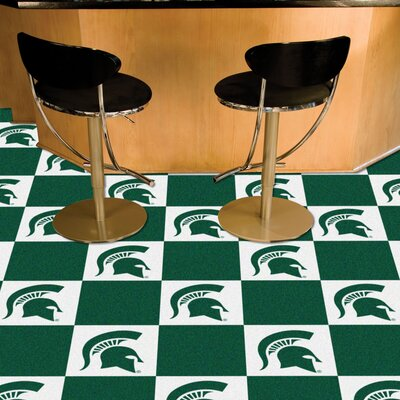 Collegiate 18 x 18 Carpet Tiles in Multi-Colored NCAA Team: Michigan State