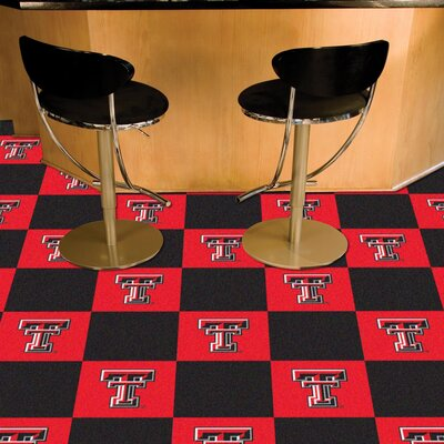 Collegiate 18 x 18 Carpet Tiles in Multi-Colored NCAA Team: Texas Tech