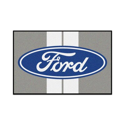 Ford - Ford Oval with Stripes Tailgater Mat Rug Size: 17 x 26