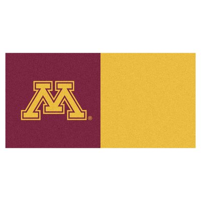 Collegiate 18 x 18 Carpet Tiles in Multi-Colored NCAA Team: Minnesota