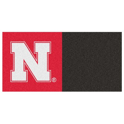 Collegiate 18 x 18 Carpet Tiles in Multi-Colored NCAA Team: Nebraska