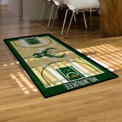 NBA - Milwaukee Bucks NBA Court Runner Doormat Rug Size: 2' x 3'8