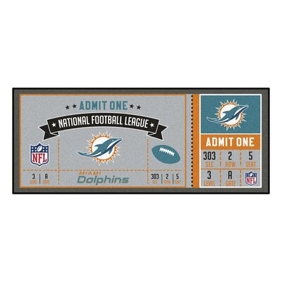 Ticket Runner Utility Mat NFL Team: Miami Dolphins