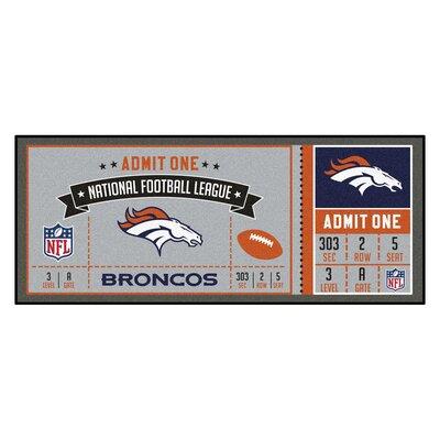 Ticket Runner Utility Mat NFL Team: Dever Broncos