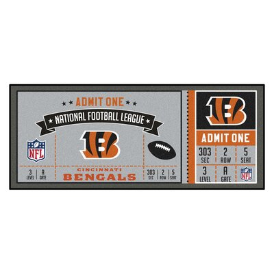 Ticket Runner Utility Mat NFL Team: Cincinnati Bengals