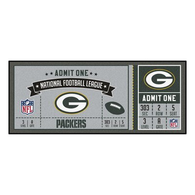 Ticket Runner Utility Mat NFL Team: Green Bay Packers