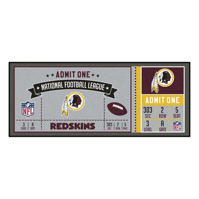 Ticket Runner Utility Mat NFL Team: Washington Redskins