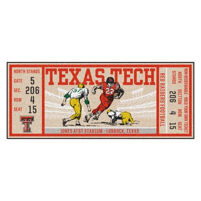 Ticket Runner Utility Mat NCAA Team: Texas Tech University