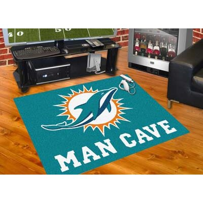 NFL - Miami Dolphins Man Cave Starter Rug Size: 17 x 26