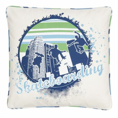 Born to Skate Skateboarding City Scene Throw Pillow
