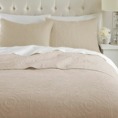 Vanderbilt Quilt Set Size: King, Color: Beige