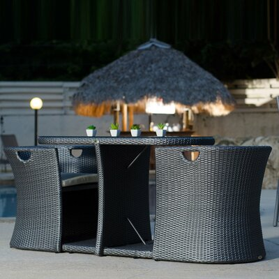 Image of Boynton 3 Piece Outdoor Dining Set with Cushions Finish: Gray