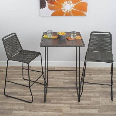 Mia 3 Piece Pub Table Set Color: Gray