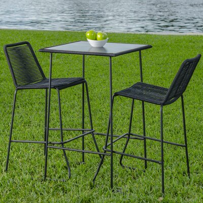 Mia 3 Piece Pub Table Set Color: Black